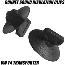 10x CLIPS VW T4 TRANSPORTER CARAVELLE BONNET SOUND INSULATION TRIM BLACK PLASTIC