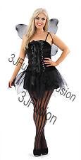 Women Ladies Gothic Dark Fairy Fancy Dress Horror Glamour Halloween Costume (ES)