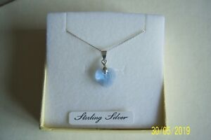"""PALE BABY BLUE CRYSTAL HEART PENDANT ON 18"""" 925 STERLING SILVER CHAIN BRAND NEW"""