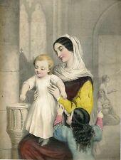 «Madre con niños» Litografía coloreada antigua