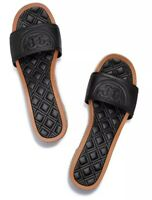 NWB Tory Burch Fleming 50MM Espadrille Slide SZ 6.5 , Quilted Leather , Black