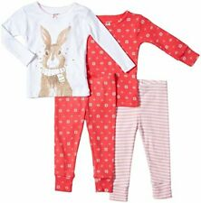 Carter's girl's 6 month pink white bunny striped 4 piece cotton pajama set