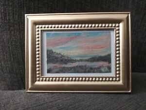 "miniature original Oil paint "" Sunset Bay "" * Collector's Piece * Office Decor"