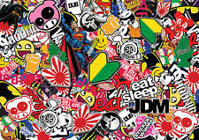 x2 JDM sticker bombing sheets A4 sticker bomb decal Euro style drift