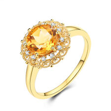 8mm Round Citrine Real Diamond Gorgeous Wedding Ring Gift Solid 18K Yellow Gold
