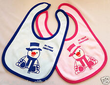 First Christmas Baby Bib Blue Pink Cotton Printed Gift Can Personalise