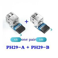 Internal motherboard 9pin to 2 port USB 2.0 a female adapter converter PCB