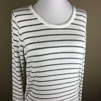 Market & Spruce Stitch Fix Women's Long Sleeve Tee Top Size M White, Gray Stripe