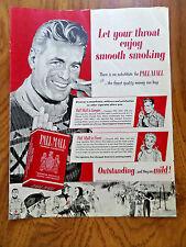 1954 Pall Mall Cigarette Ad   Winter Skiing Theme