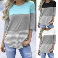 Summer Womens Striped Tops Blouse Ladies Short Three Quarter Sleeve T-Shirt AB
