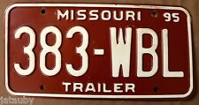 MISSOURI TRAILER LICENSE PLATE 383 WBL 1995 original sign