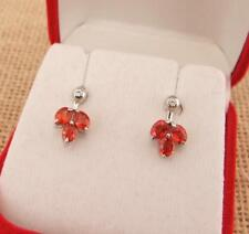Orange Sapphire 925 Sterling Silver Stud Earrings Jewellery