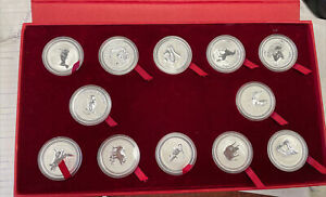 1999-2010 Perth Mint Silver 1 oz. Lunar Series I 12 Coins Set 12 Oz W/ Mint Case