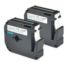 2PK MK231 M-K231 Brother 12mm Width Black on White 26.2ft Length Labeling Tape