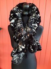 Glamorous faux fur black or silver collar scarf with silver metallic shiny print