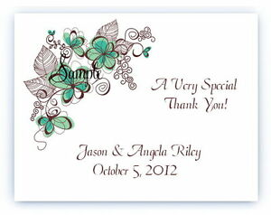 100 Custom Personalized Floral Teal Flowers Wedding Bridal Thank You Cards
