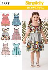Simplicity Sewing Pattern 2377 Childs Girls Dress Skirt Variation Size 3-8 Uncut