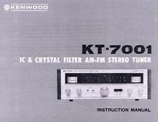 VINTAGE AUDIO * KENWOOD KT-7001 AM FM STEREO TUNER MANUAL (COPY) w/ SCHEMATIC