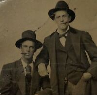 Ca. 19th Century Tintype 2 Men Friends Affectionate Cigars Clean Shaven Hats Vtg