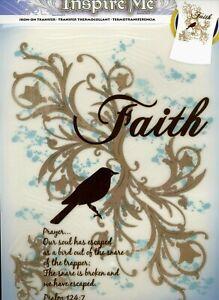 Iron On Transfer Faith New Sealed Inspire Me Bird with Prayer Psalm Religious