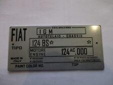 Typenschild FIAT 124 BS Schild VIN plate s23 spider plaque du constructeur