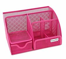 NEW EasyPAG Mesh Office Desk Organizer 6 Compartments with Drawer Pink
