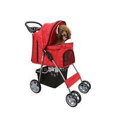 4 Wheel Dog Cat Pet Travel Stroller Folding Carrier Stroage Basket Light Weight