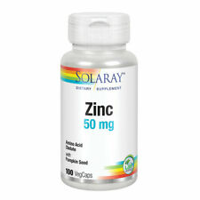 Solaray Zinc 50 mg 100 VegCaps, Immune Support, Vegan, Halal, Fast FREE Shipping