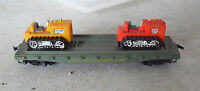 Vintage HO Scale Tyco Western Maryland Flatcar with 2 Tractors