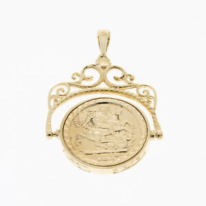 Pre owned 9ct Yellow Gold St George Spinning Pendant