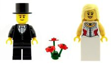 LEGO Wedding Bride and Groom Minifigs & Red Flowers Girl Printed Torso C NEW
