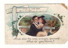 Couple Hugging On A Bench, This Is The Way To..., Antique Greetings Postcard