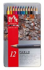 CARAN D'ACHE PABLO PERMANENT COLOURED PENCILS - Tin of 12 Assorted Colours