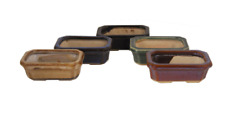 Succulent Bonsai Ceramic Pot Planter Glazed Footed Rectangular 5 Color Choices