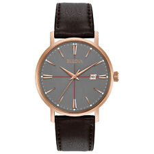Bulova Aerojet Men's Quartz Rose Gold Case Brown Leather Band 39mm Watch 97B154