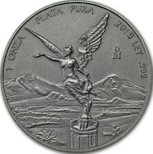 """2019 Mexico 1 oz Silver Libertad Antiqued Finish """"1000 Mint"""" Original Package"""