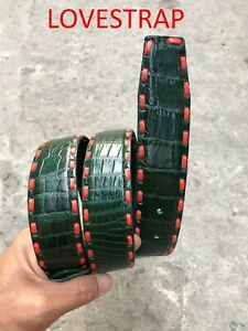GREEN GENUINE ALLIGATOR CROCODILE  BALLY LEATHER SKIN BELT Wide 3,8cm + Buckle