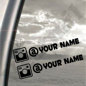 2 Instagram Username Personalised Text, Tag, Car, Laptop, Vinyl Decal Sticker