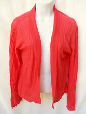 EILEEN FISHER Womens Coral Pink Linen Open Ribbed Knit Cardigan Sweater Jacket S