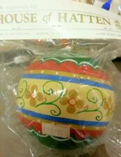 """Hoh House Of Hatten, Round 4.5"""" Ball Christmas Ornament, Green Stripes"""