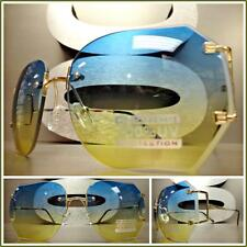 CLASSIC VINTAGE RETRO Style SUN GLASSES Gold Rimless Frame Blue & Yellow Lens