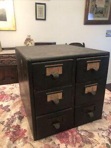 Antique Golden Oak? 6 Drawer Library Card File Index Cabinet