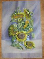 SUNFLOWERS GLASS VASE BOTANICAL NATURE GARDEN FLOWER VINTAGE WATERCOLOR PAINTING
