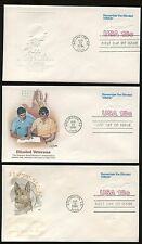 #U600 18c Blinded Vets Stamped Envelope Fdc Lot of 5 Different Cachets Fd4411