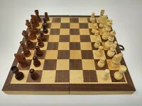 DA VINCI 12 Inch Folding Inlaid Wood Travel Chess Set with Storage