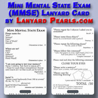 Mini Mental State Exam MMSE Medical + Nursing Lanyard Reference Card