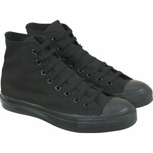 Baseball Boots Black Womens Mens Canvas Hi Top Shoes High Lace Up Trainers Pumps