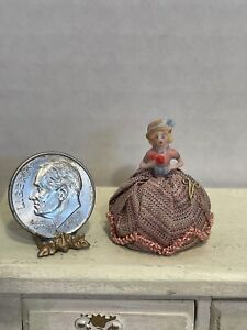 Vintage Artisan NEAT Tiny Porcelain Doll Pin Cushion Dollhouse Miniature 1:12