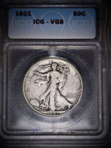 1921 Walking Liberty Half Dollar, ICG  VG8, Super Key Date, Issue Free.
