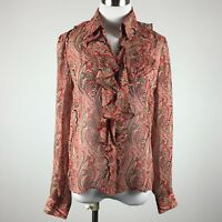 Jones NY womens blouse size 4 red paisley silk ruffle front button up career